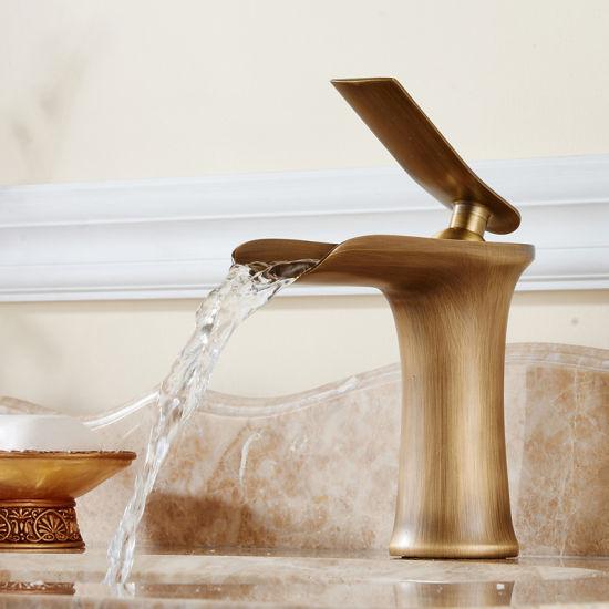 Flg Antique Brass Kitchen/ Basin Mixer/Tap Waterfall Faucet
