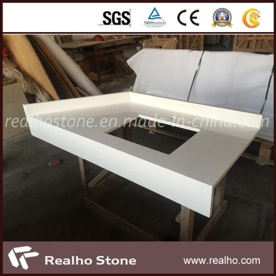 Engineered White Quartz Stone Countertop for Kitchen and Vanity Top
