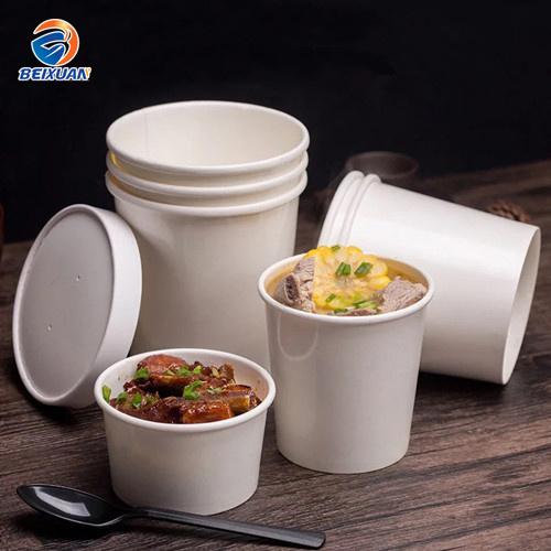 12oz Disposable Kraft Paper Soup Bowl with Paper or Plastic Lid Paper Soup  Cup