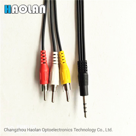 10m Composite Video Cable 4 Pole 3.5mm Male Sraight to 3x RCA Phono Male