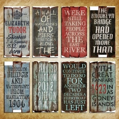 Antique Wood Plaque and Signs