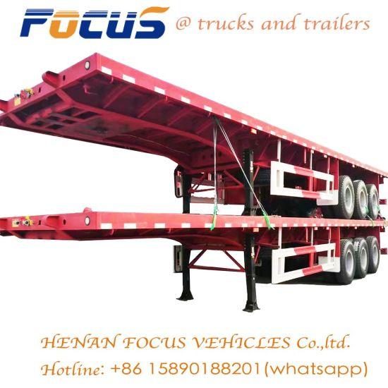 Focus 12.5m Length Flat Bed Truck Semi Trailer for Cement Bag Transport