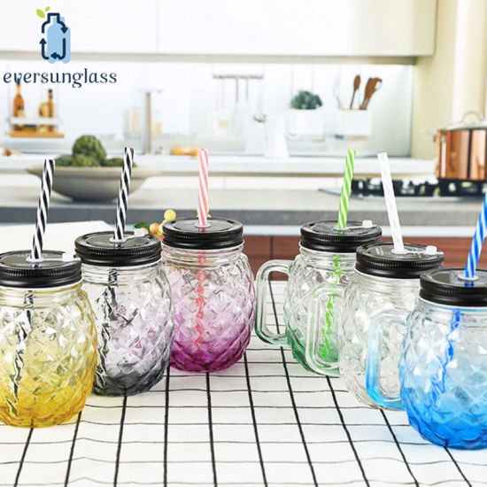 Wholesale 500ml Glass Bottle Pineapple Shape Mason Jar with Handle pictures & photos