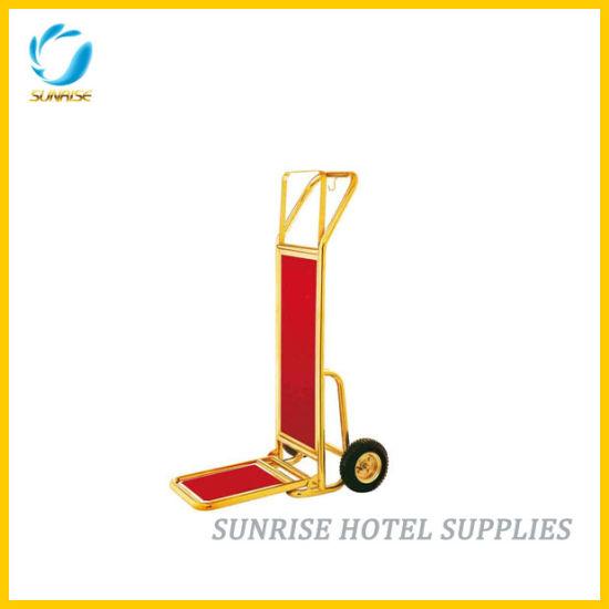Hotel Gold Chrome Finish Baggage Trolley Luggage Cart