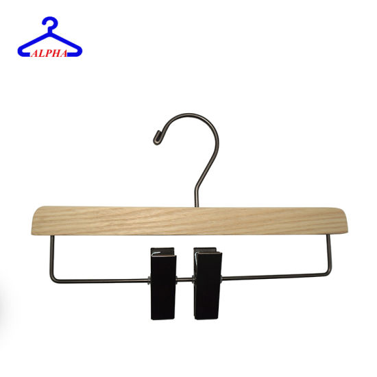 Customized Sturdy Wood Skirt/Pants/Clothes Rack Polished Nickel Hooks and Clips