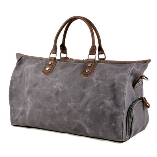 New Design Wholesale Price Waterproof Canvas Leather Travel Bag Canvas Duffle Bag for Men