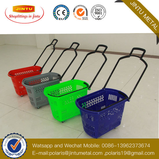 Colorful Plastic Shopping Rolling Basket with Wheels