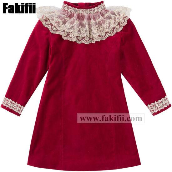 Factory Baby/Kids Uniform Children's Apparel New Design Fashion Lace Velvet Girl Dress Clothes Baby Garment
