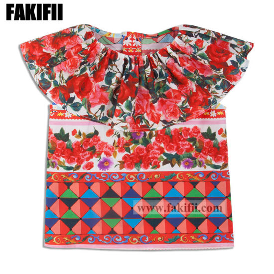 Spring/Summer Children Clothing Girl Cotton Flower Blouse Kids Wear Shirt
