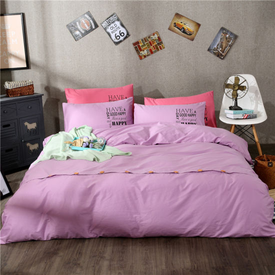 Wholesale Australia Solid Purple Color Egyptian Combed Cotton Reactive  Printed Fitted Sheet Set