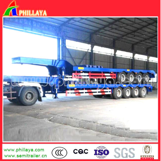 4 Axle 100ton Lowbed Lowboy Low Bed Truck Semi Trailer