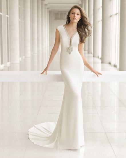 China Satin Beautiful Beading Back Wedding Dress - China Formal ...