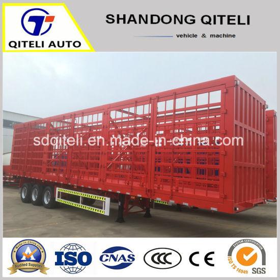 3 Axle 60ton Fence Semi Trailer Flatbed Cargo Trailer Stake Truck Trailer