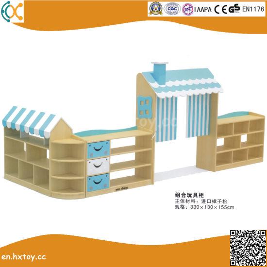 High Quality Kindergarten Children Wooden Toy Shelf