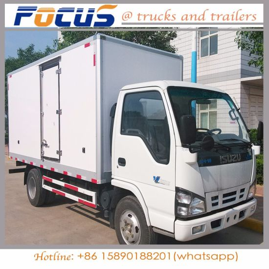 China 4tons Isuzu Diesel Refrigerated Truck For Meat Fish Milk Transport