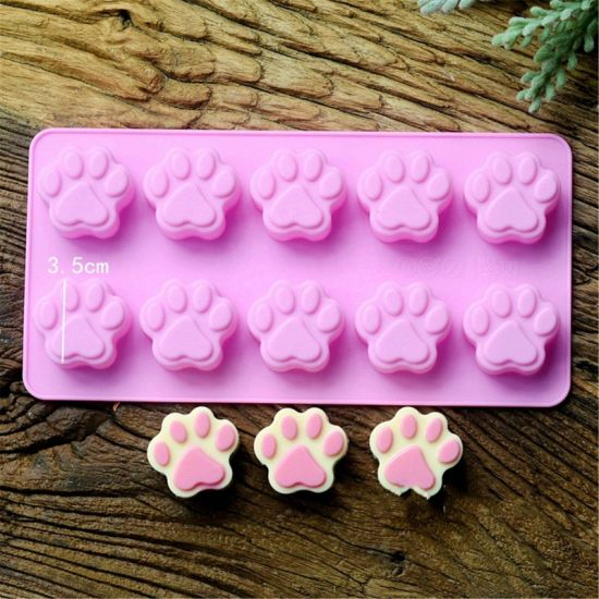 Dog Footprints Silicone Gel Budding Mold Ice Cube Tray Soap Molds