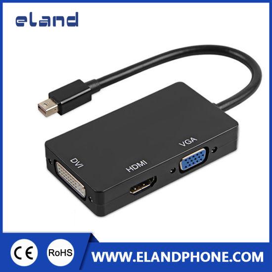 3 in 1 Thunderbolt Mini Dp Displayport Male to HDMI VGA DVI Adapter Converter Cable Black