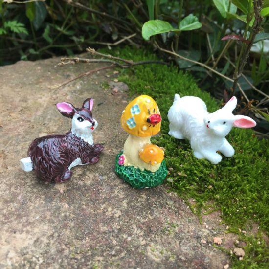 Polyresin Sculpture Garden Stake Gifts Mini Rabbit Figures Toys Decoration Resin Craft