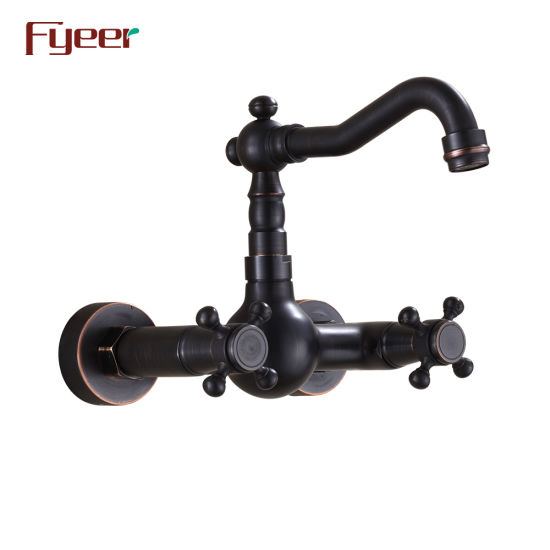 Fyeer Wall Mounted Black Kitchen Faucet with Double Cross Handle