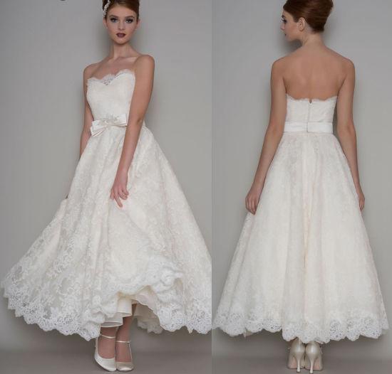 China Lace Short Wedding Dress Ankle Length Ivory White Bridal