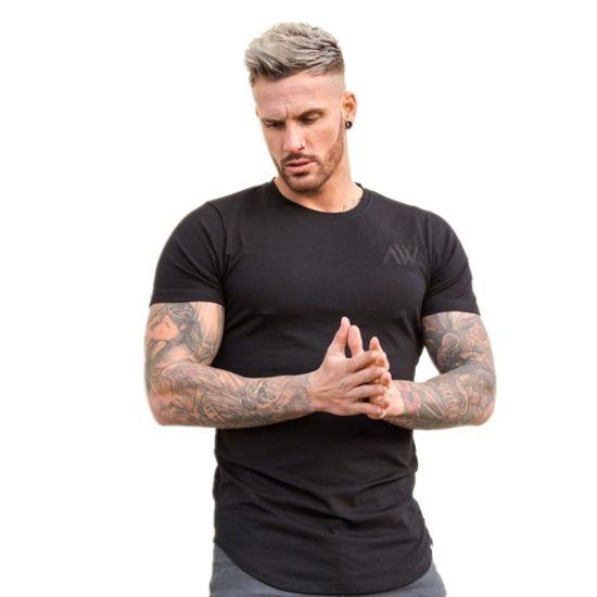 Custom Embroidered Logo Fashion T-Shirt Black Short Sleeve Slim Fit Men Tshirt
