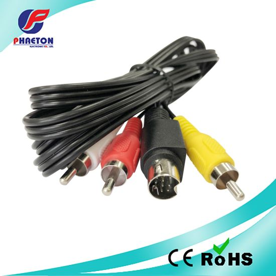 3RCA to 10 Mini Pin DIN Audio Video Cable pictures & photos