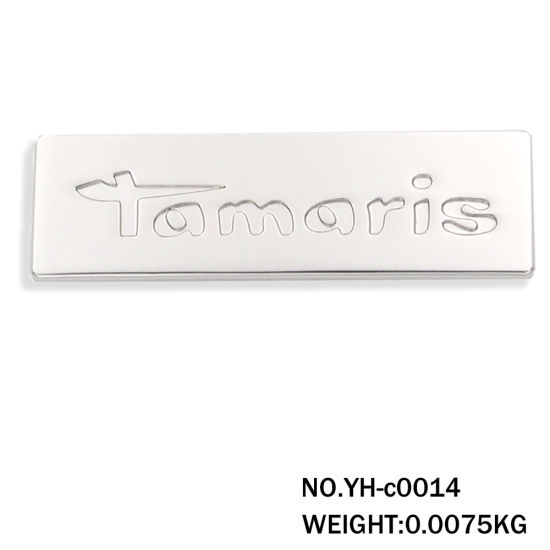 Silver Zinc Alloy Metal Logo Plate for Handbag