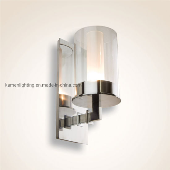 Modern Minimalist Decorative Interior Bedroom Glass Stainless Steel Wall Lamp