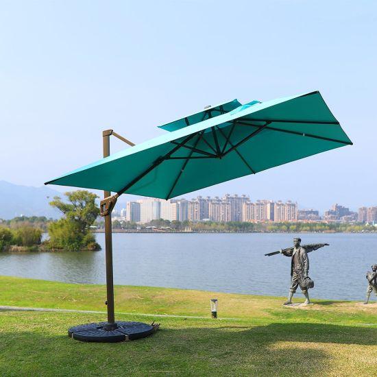 UV Resistant Sun Outdoor Patio Umbrella, Chinese Cantilever Hanging Garden Parasol