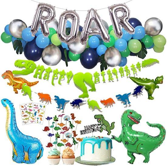 Dinosaur Party Supplies Dino Party Decorations Set, Silver Roar, Jungle Theme Balloon Decoration Set