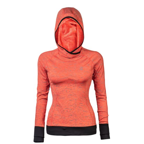 Women's Yoga Fitness Striped Long-Sleeved Contrasted Orange Reflective Hoodie