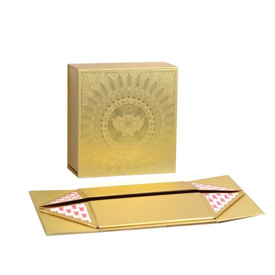 Custom Gold Box Magnetic Closure Folding Box Printing Gift Packaging Box Cloth Gift Box