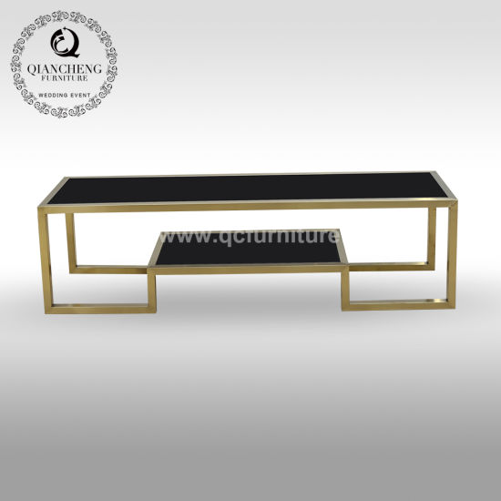 Golden Stainless Steel TV Stand Free Standing with Two Layers