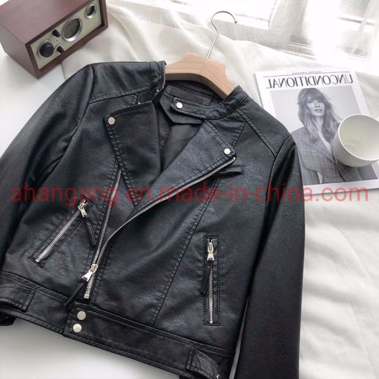 Women′s PU Leather Short Lapel Coat pictures & photos