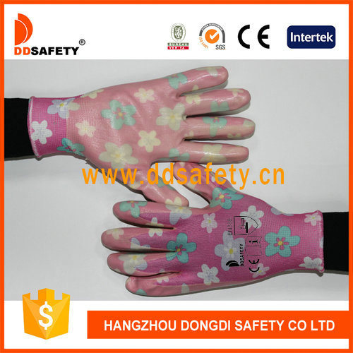 Pink Flower Nylon with Nitrile Hand Protection Gloves
