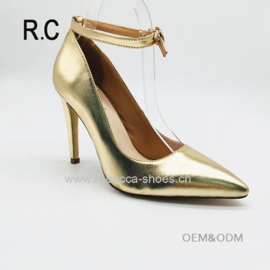 9ea885209de China Supplier Women Leather Shoes Stiletto Buckle Strap Pointed Toe Golden  Dress Shoes