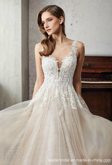 badd146a47ed China 2019 Lace Bridal Wedding Gown Custom Champagne Wedding Dress ...