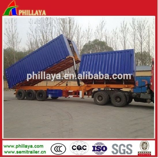 Double Box Side Tipping Semi Trailer pictures & photos