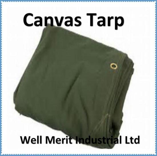 6X8FT Canvas Tarp 18 Oz Extra Heavy Duty Tarpaulin Water Resistant