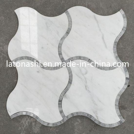 China Discount Carrara White Waterjet Mosaic Tiles Marble Waterjet