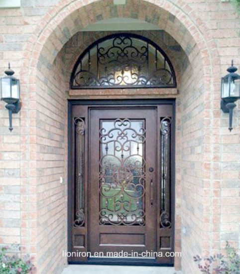 China Ornamental Wrought Iron Entry Security Entry Door For House