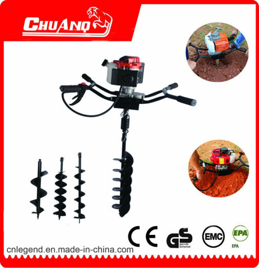 Two Handle Gear Drive Gasoline Machine Ground Drill pictures & photos