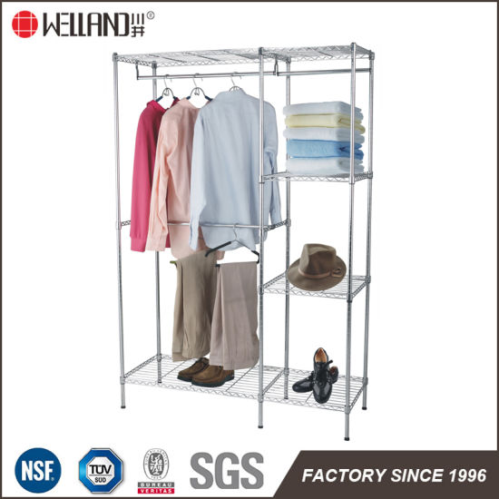 DIY Bedroom Furniture Chrome Steel Wardrobe Closet Rack With T/C Canvas  Cover