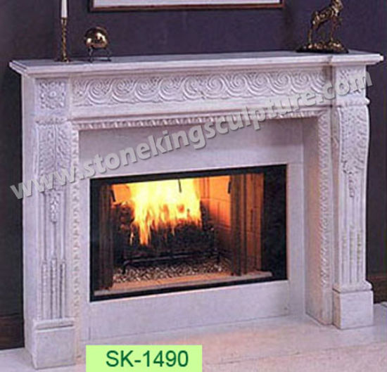 Top Quality Marble Fireplace with Sculpture (SK-2568) pictures & photos