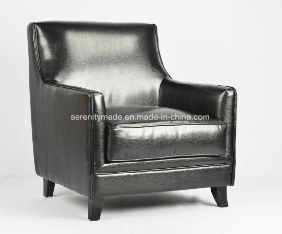 High Quality Italian Style Top Luxury Black Leather Upholstered Sofa Lounge  Chair