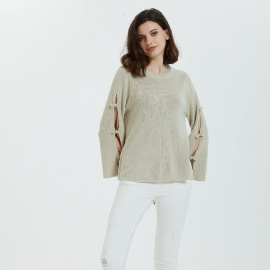 2020-Styles Ladies Pullover Roundneck Cashmere Sweater with Fashion Sleeve
