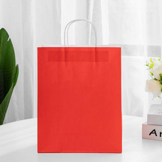 Stock Full Color Print White Kraft Gift Shopping Paper Bag