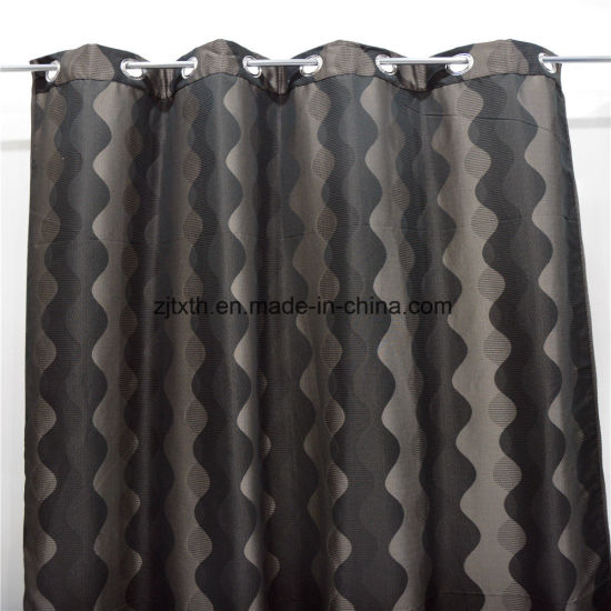 2018 Wholesale Market High Quality Grey and Black Wavy Polyester Room Curtain Cloth Fabric