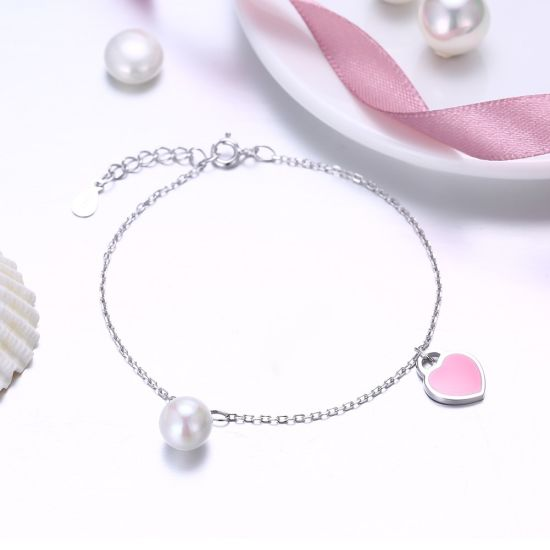 Fashion Simple Design 925 Sterling Silver Pearl Heart Shape Bracelet pictures & photos