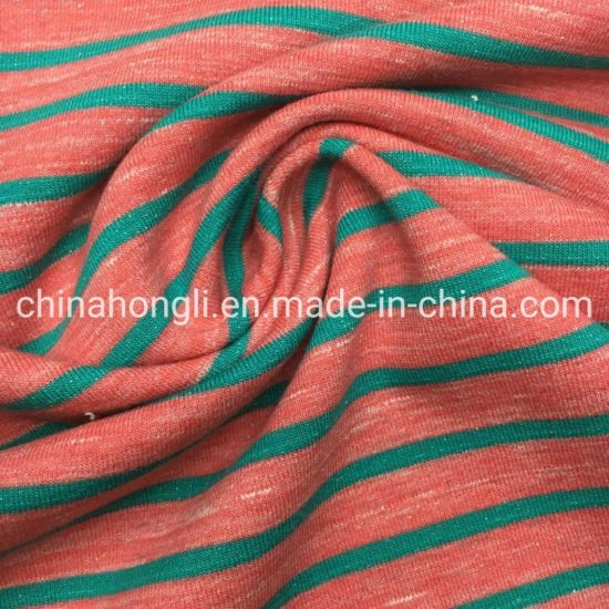 Shinny Stripe Baby Terry Polyester/Cotton/Lurex/Spandex 63/29/5/3, 390GSM, Yarn Dye Knit Fabric pictures & photos